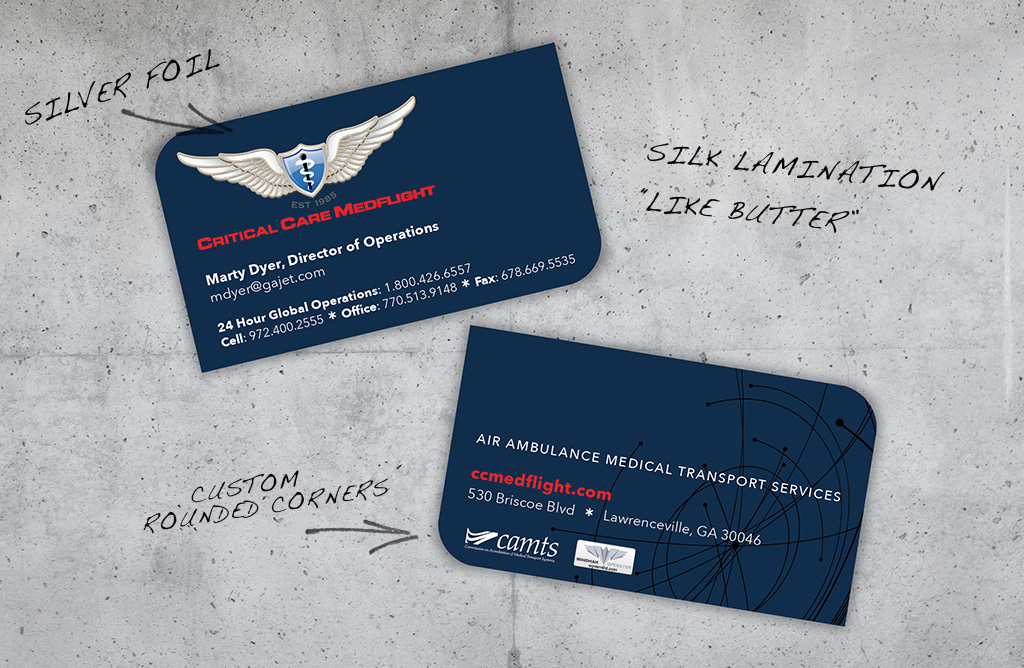 Critical Care Medflight Business Cards