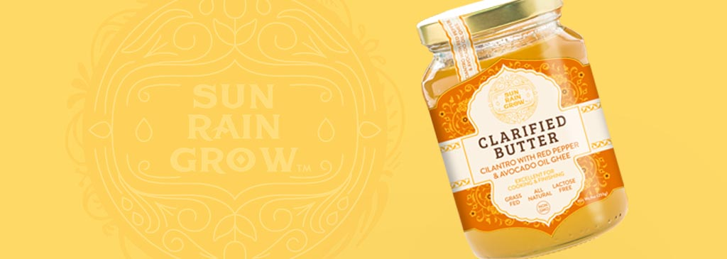 High-end Packaging Design for a new Ghee product Sun Rain Grow
