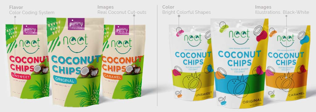 Image of two design for a new Coconut Chip CPG product made by need