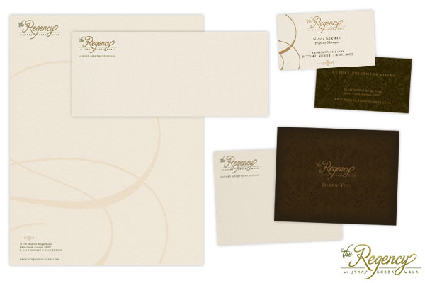 Corporate Identity package for The Regency at Johns Creek Walk.