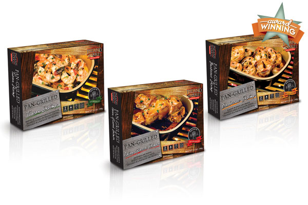 Packaging design for Pan Grilled Seafood.