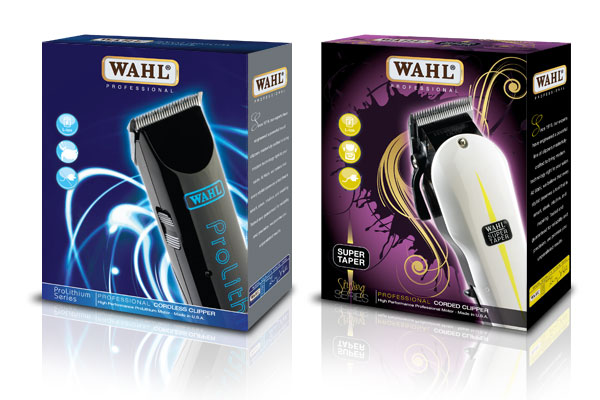 Packaging design for Wahl Prolithium and Super Taper.