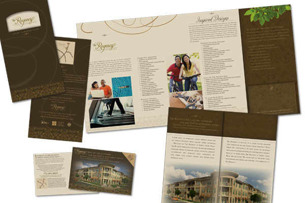 Marketing materials for The Regency at Johns Creek Walk.