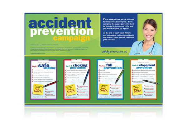 Marketing materials for the Sava Accident Prevention Campaign.