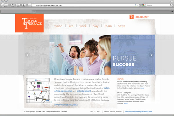 Website design for Downtown Temple Terrace.