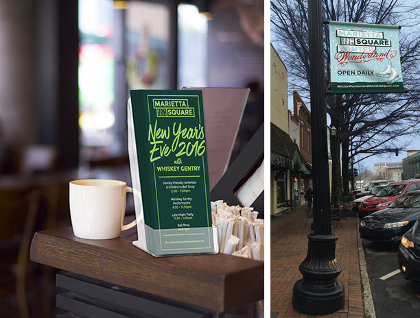 Marietta ad agency id8 helped to create branding elements and signage for The Marietta Square holiday events.