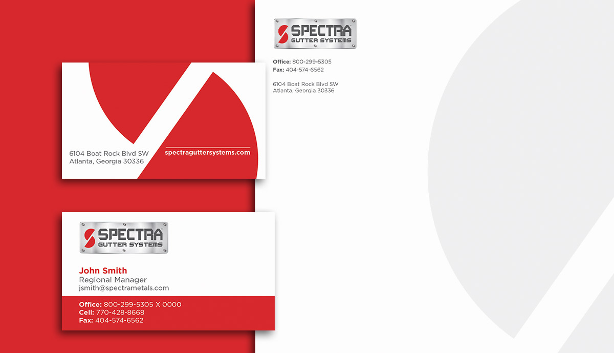 Spectra Gutter Systems Business Cards and Letterhead on Red Background