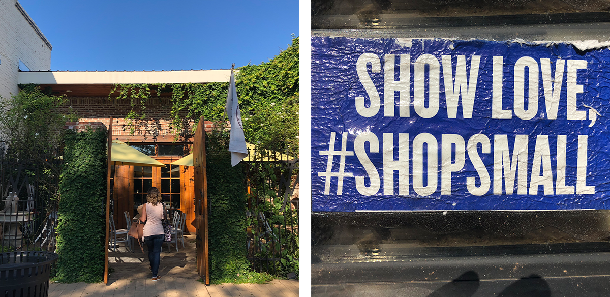 """woman walking into shop and sticker on window stating to """"show love, #shopsmall"""""""