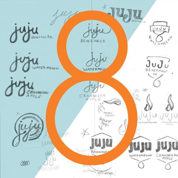 Juju Beverage rebrand logo sketches
