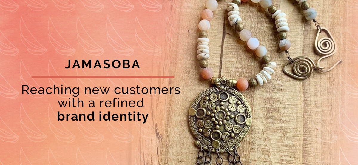 Header image showing Necklace Medallion and Title Stating Jamasoba: Reaching new customers with a refined brand identity