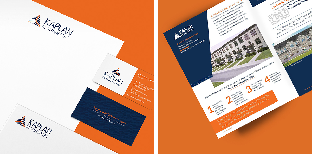 Kaplan Residential business collateral and promotional flyer displayed on orange backgrounds.