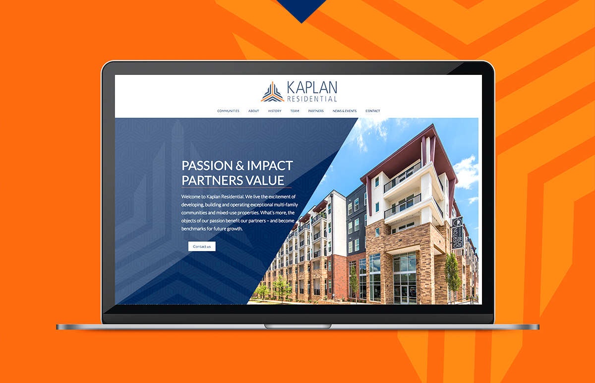 Kaplan Residential website home page shown on laptop.