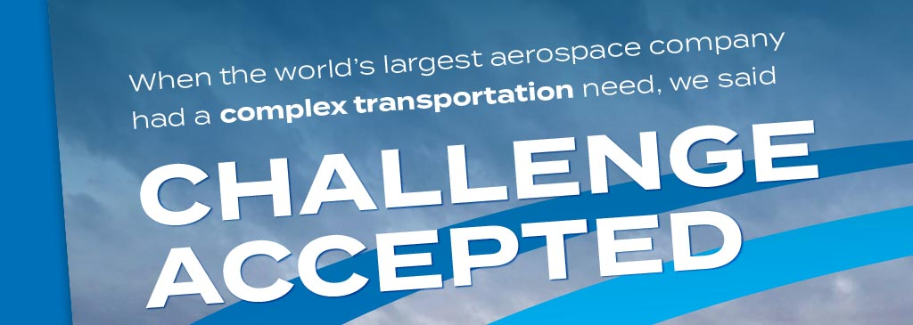 Marketing Flyer for Bennett Transportation saying Challenge Accepted overlaying a cloudy sky with blue swoosh