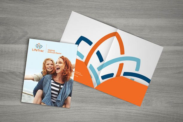 Rebranding for Nonprofit LifeTrac exterior of a Pocket Folder and Interior Design