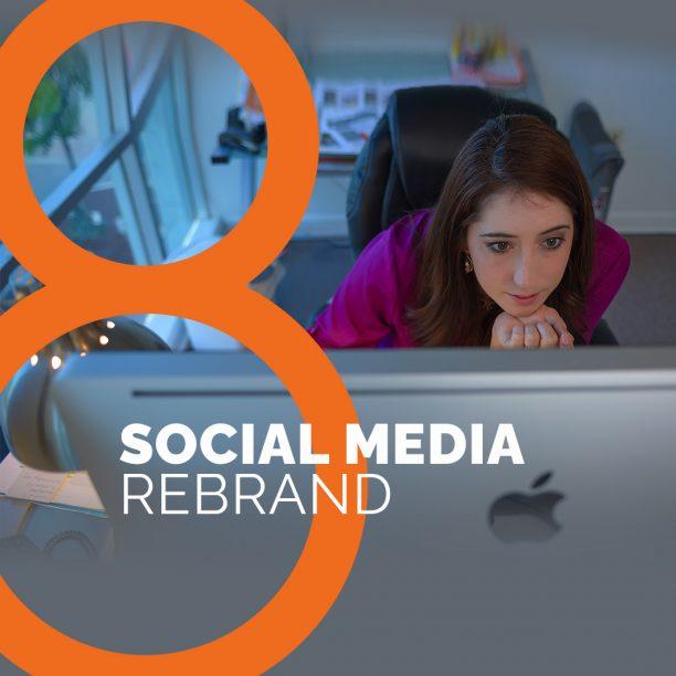 Female at computer looking at social media