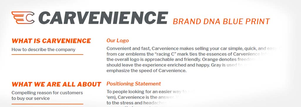 Brand DNA Blue Print for Carvenience shows the deliverable for the positioning and messaging process