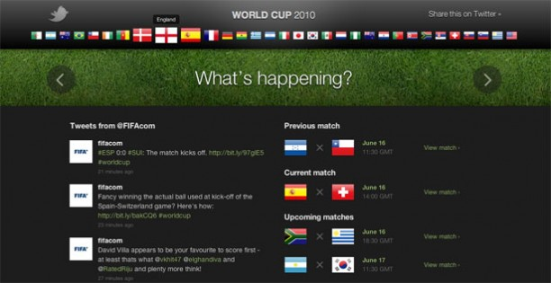 3 Impressive Website Designs for the 2010 World Cup